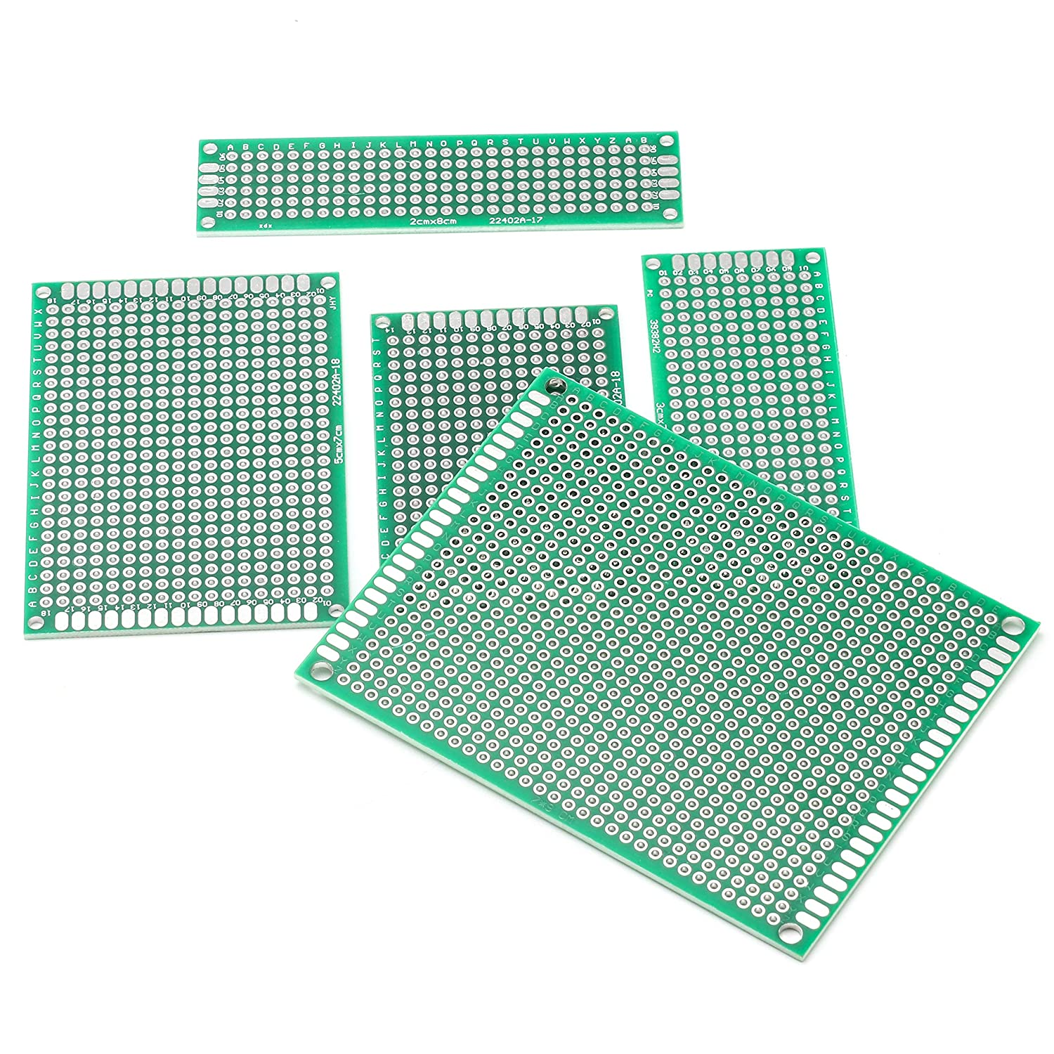 5 Size Universal untraced Perforated Printed Circuits Boards Solder-able Circuit Protoboards for DIY Soldering Electronic Projects DEYUE 40PCs PCB Double-Sided Prototyping PCBs Circuit Boards Kit