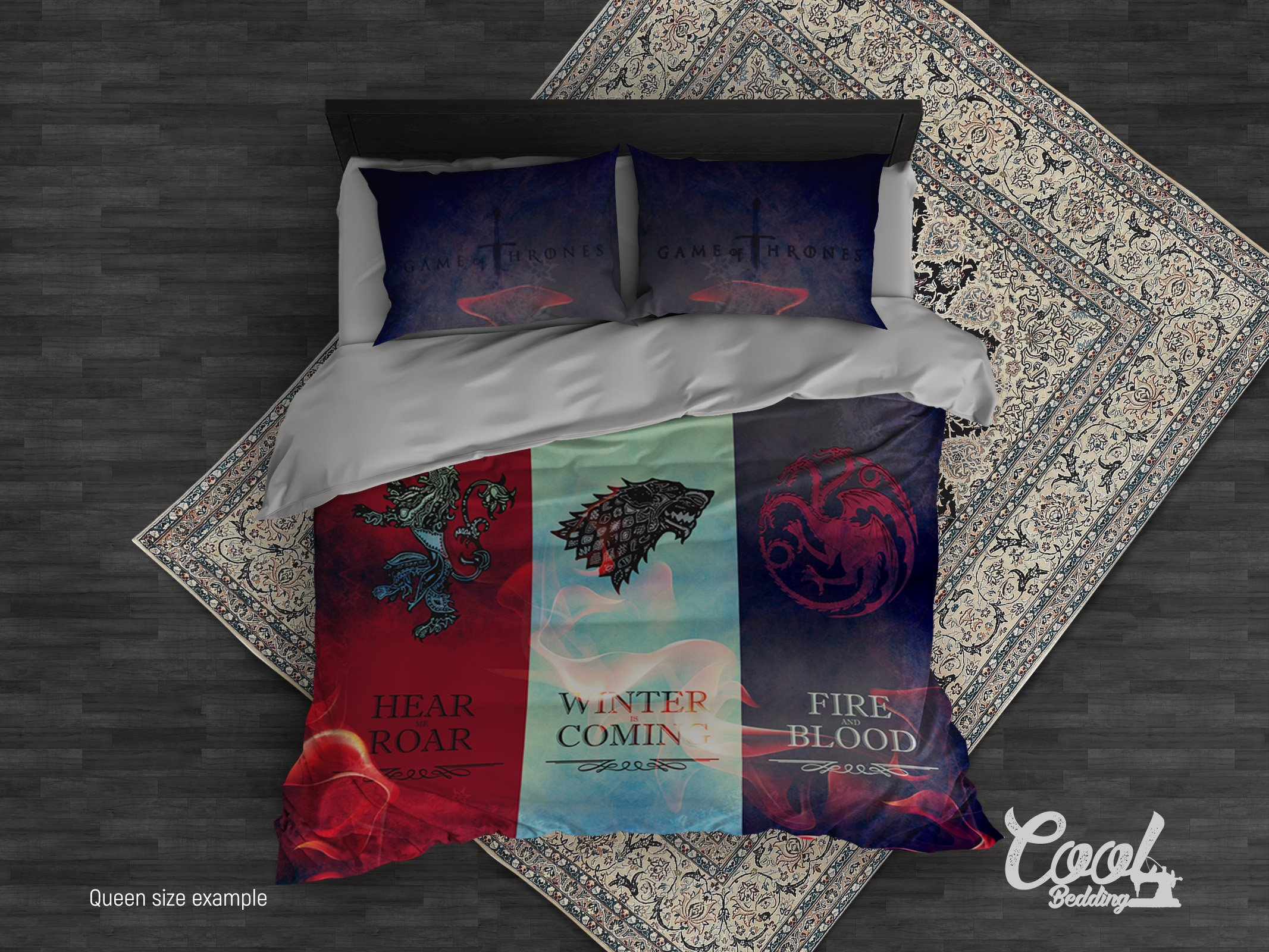 Game of Thrones Duvet Cover or Comforter design by Cool Bedding.3 or 4 Pcs GOT families Bedding Set. King Queen Full Twin Single GOT beddings (Queen 95''x87'')