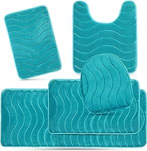 Elvoki 5 Piece Bathroom Rugs Set - Soft Non Slip Memory Foam Large Bathroom Rug Mats - Perfect Combination of Luxury and Comfort - Aqua Teal/Sea Design