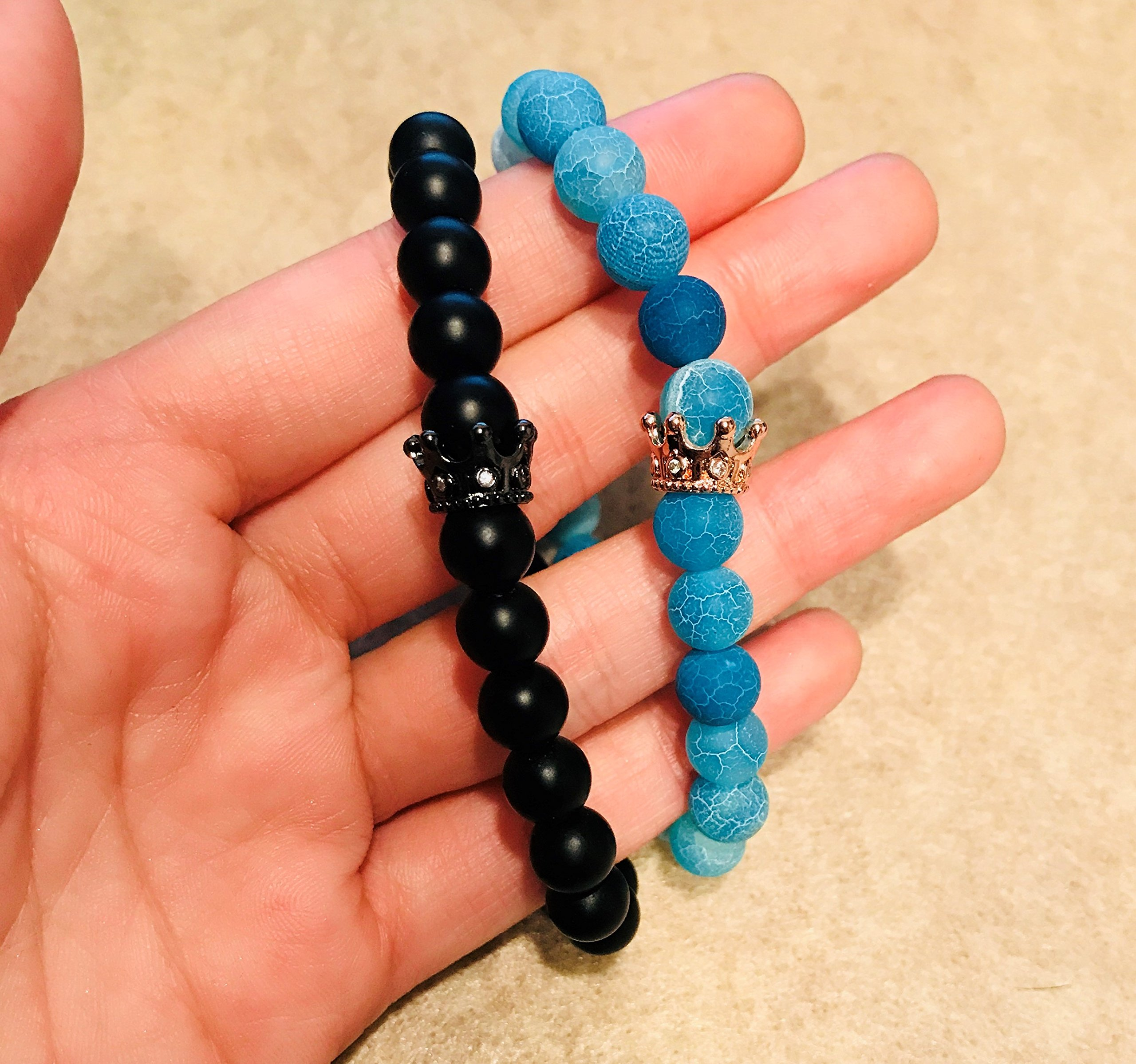 ISAACSONG.DESIGN Unisex Prayer Healing Round Natural Lava Turquoise Stone 8mm Beads Stretch Bracelet with Charms (Black Matte Agate & Blue Agate) by ISAACSONG.DESIGN (Image #6)