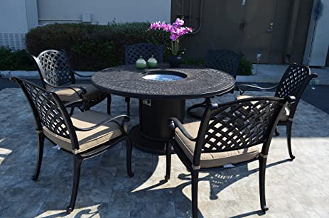 Nassau Cast Aluminum Powder Coated 7 Piece Dining Set With 60u0026quot; Propane  Firepit Table