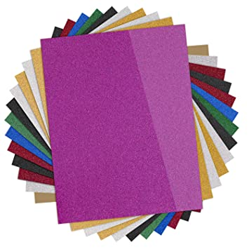 Glitter Heat Transfer Vinyl Htv 13 Pack 12 X10 Iron On Vinyl For Cricut Silhouette Cameo Teflon Sheet Included 9 Assorted Colors Htv Glitter