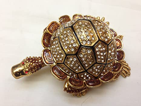 Amazon Com Large Turtle Tortoise Trinket Box Jewelry Box With Inlaid Crystal Figurine Home Kitchen