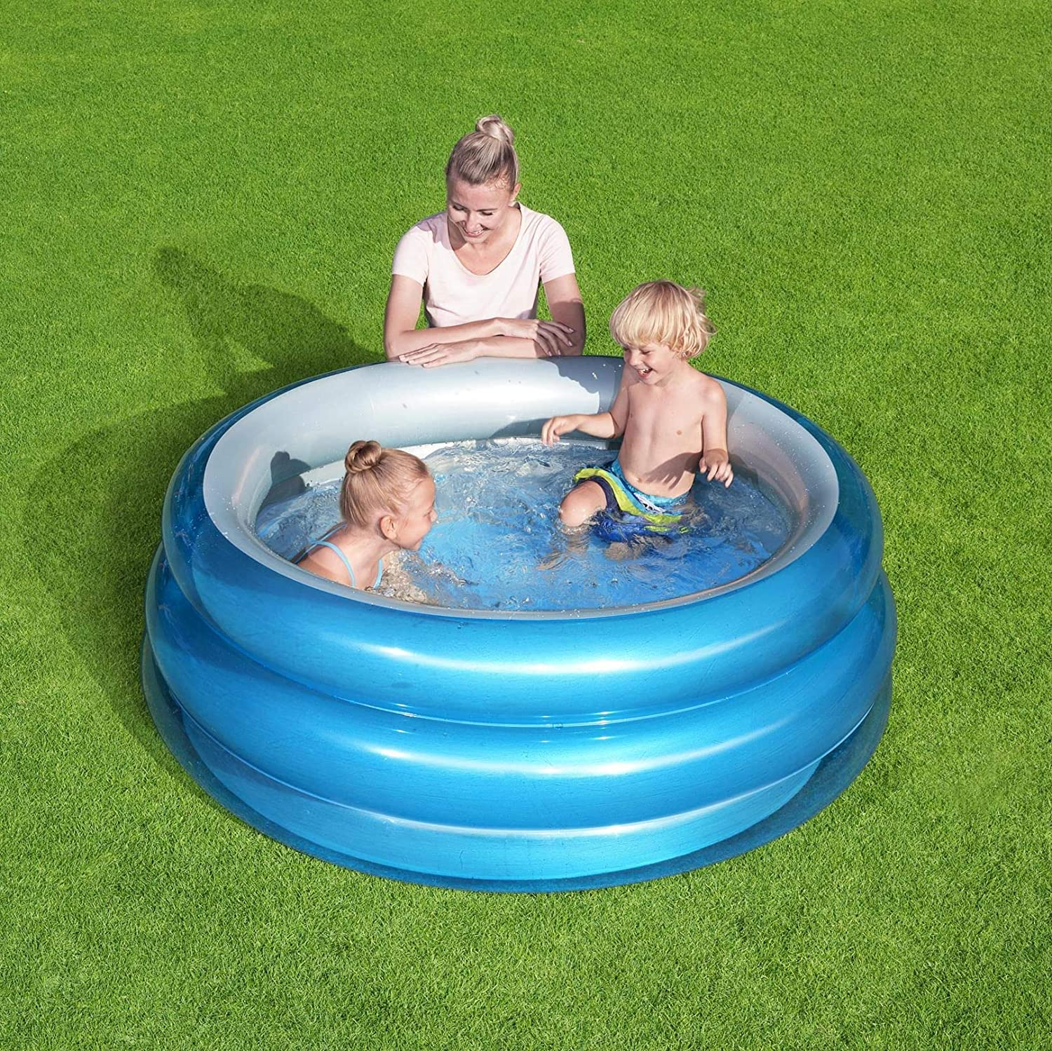 Piscina Hinchable Infantil Bestway Big Metallic 3-Ring Pool 150x53 cm: Amazon.es: Jardín
