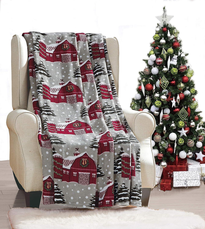 "Noble House Red Barn Throw Blanket Fleece Plush 50"" x 60"""