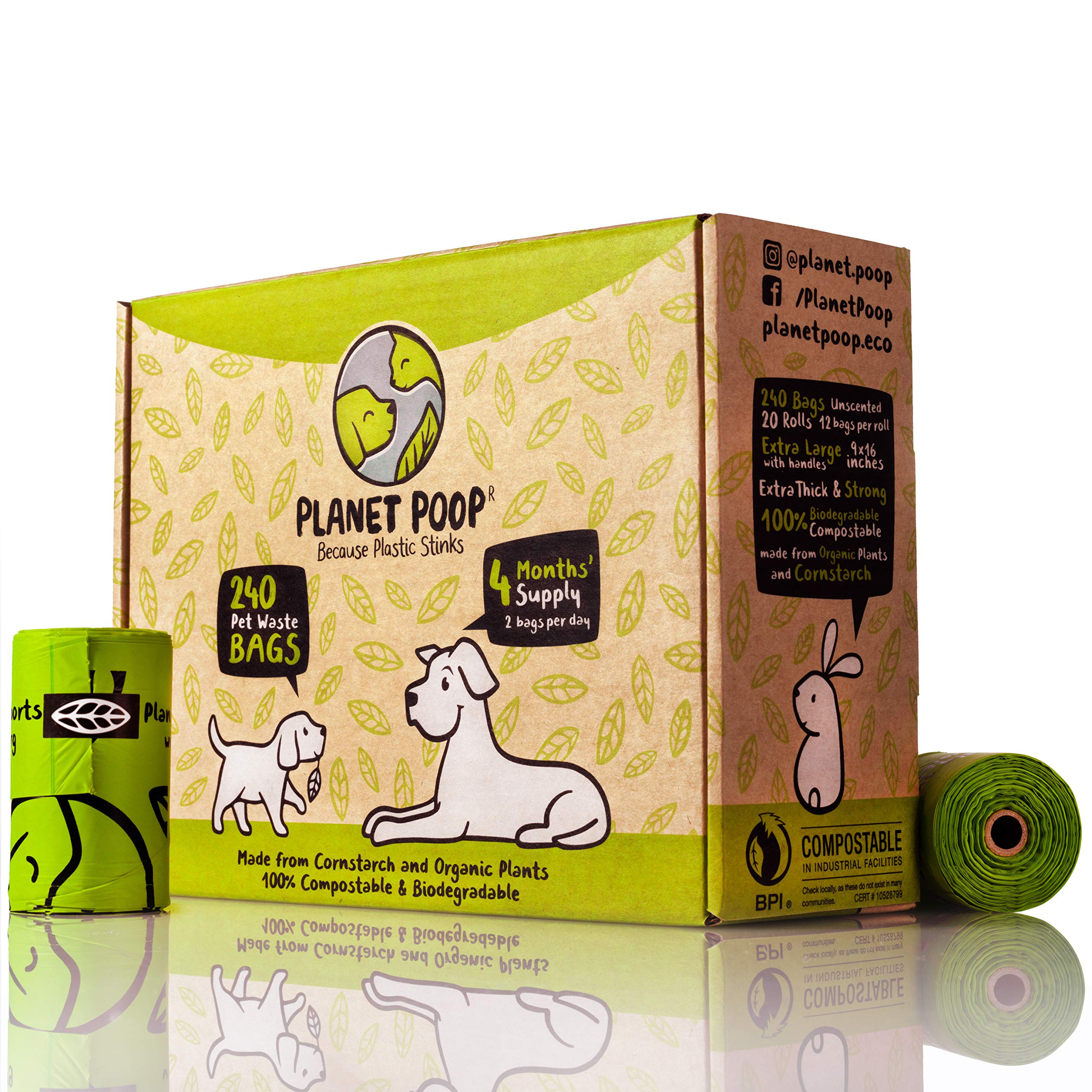 Compostable Biodegradable Dog Poop Bags Unscented - Large 9 x 16 Inches with Handles - Thick, Leak Proof, Plant Based, Pet Waste Bags - Highest Rated ASTM D6400 - Supports Dog Rescue by PLANET POOP