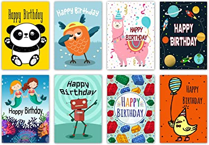 Super 16 Assorted Childrens Birthday Cards Envelopes By Greetingles Funny Birthday Cards Online Alyptdamsfinfo