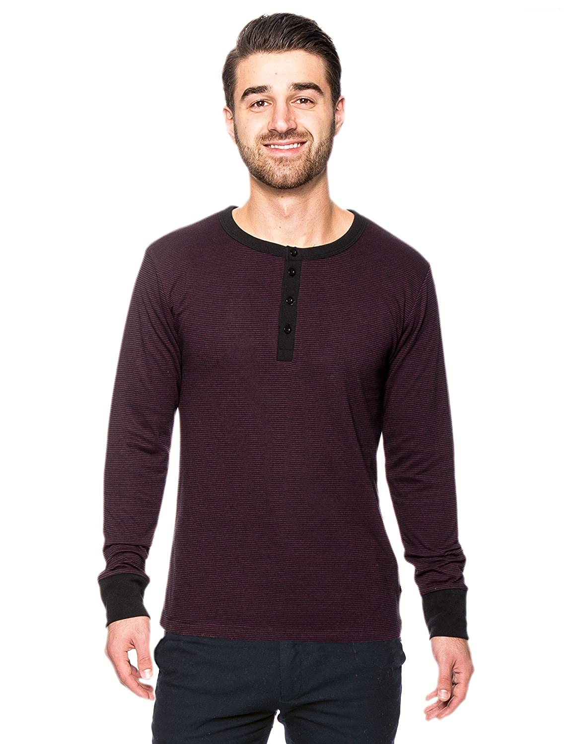 Noble Mount Men's Double Layer Thermal Long Sleeve Henley Top