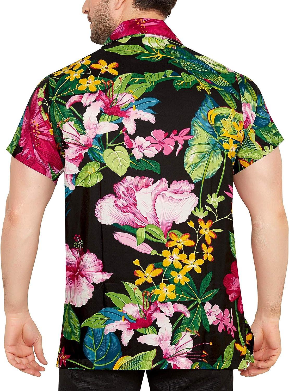 CLUB CUBANA Mens Regular Fit Classic Short Sleeve Casual Floral Hawaiian Shirt