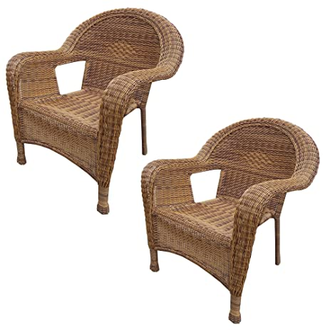 Oakland Living 2 Pack Resin Wicker Arm Chair, Natural