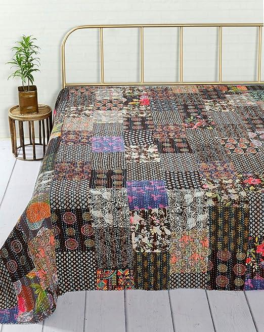 Indian Cotton Kantha Quilt Bedspread Blanket Bedding Handmade Coverlet Striped