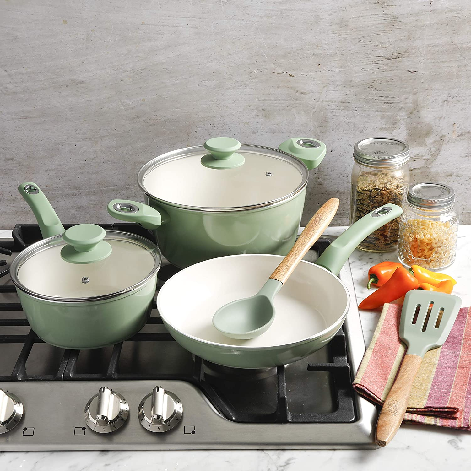Gibson Home Plaze Café' Forged Aluminum Non-stick Ceramic Cookware with Induction Base and Soft Touch Bakelite Handle, 7-Piece Set, Mint Green