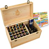 Essential Oil Box - Wooden Storage Chest With Handle & 2 Removable Trays. Holds 60 Bottles. Extra Space For Larger Items. Natural Wax Finish. Large Case Best For Keeping Your Oils Safe. Free EO Labels