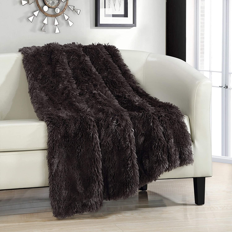 "Chic Home Elana Cozy Super Soft Ultra Plush Decorative Shaggy Faux Fur Throw Blanket, 50"" x 60"", Brown"