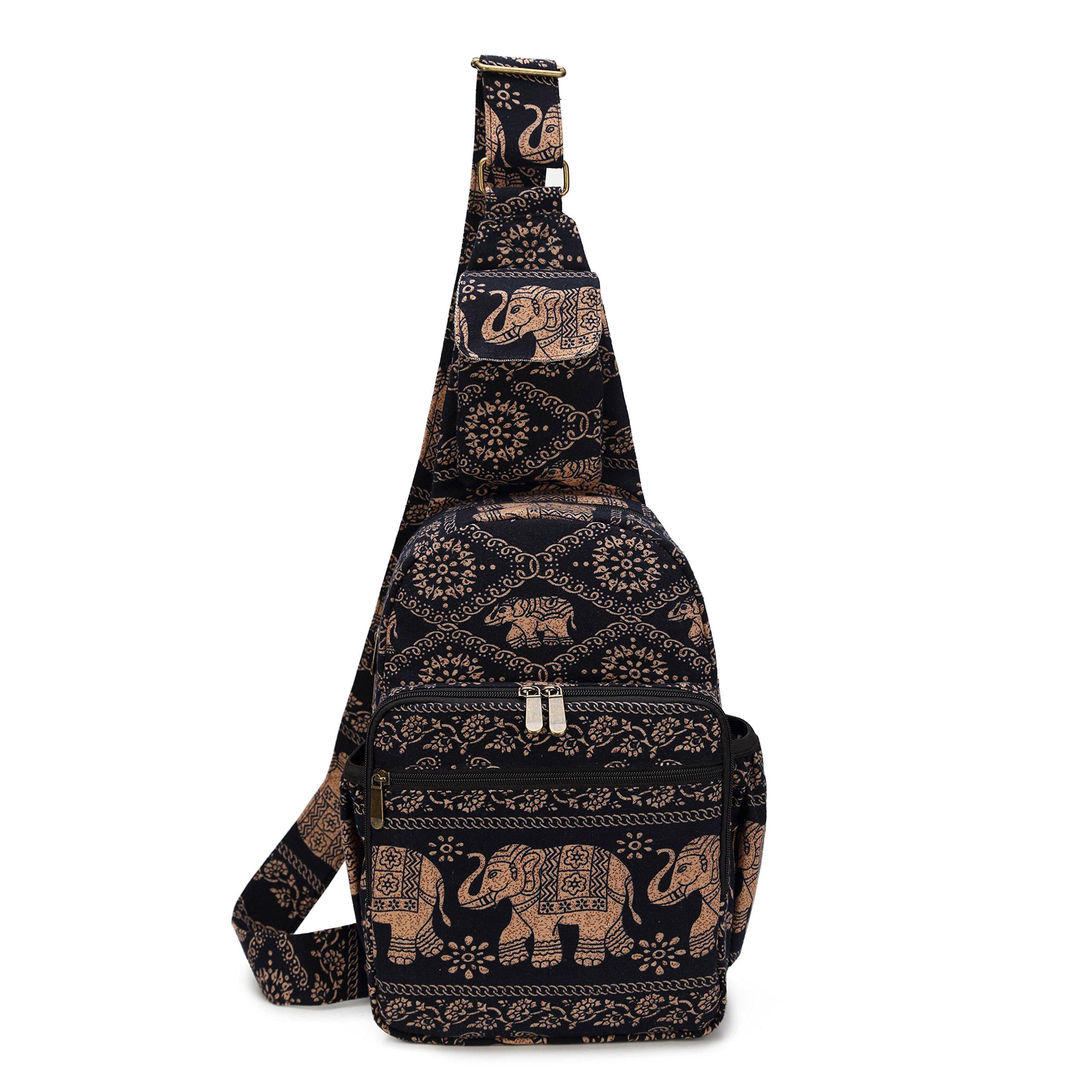 MIANZI Women Sling Bag Outdoor Sport Canvas Large capacity Crossbody Shoulder Cotton Fashion Backpack (Black)
