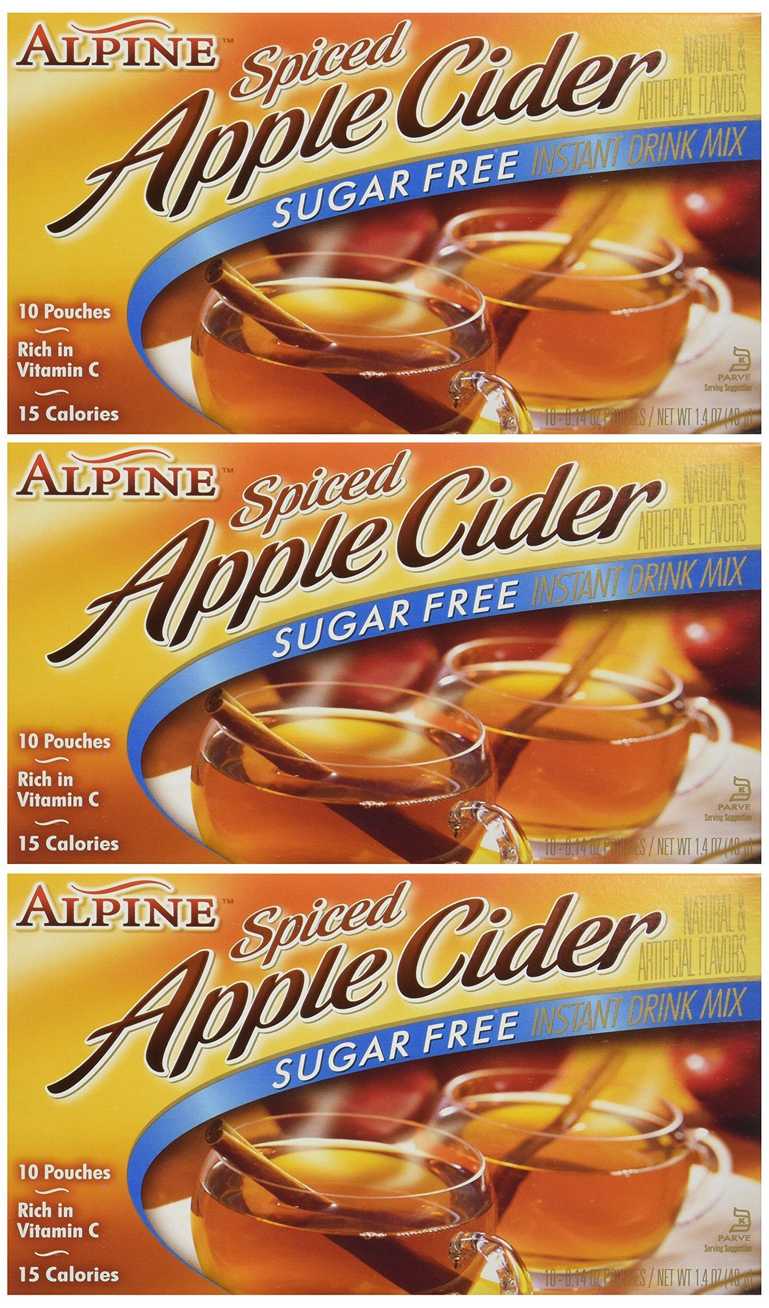 Alpine, Spiced Cider, Sugar Free Apple Flavored Drink Mix, 1.4oz Box (Pack of 3)