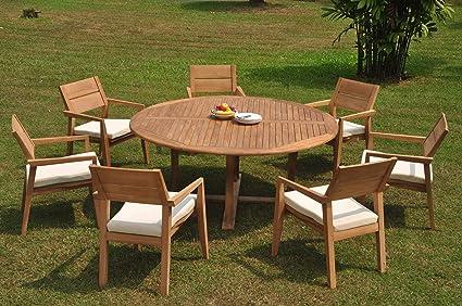 dd88639c408cb Amazon.com   7 Seats 8 Pcs Grade-A Teak Wood Dining Set  72