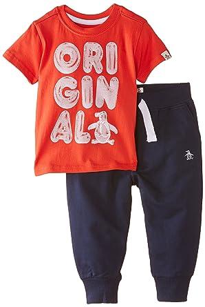 Original Penguin Baby Boys Pgn0083 Jogger Clothing Set Red Firey