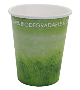 Special Green Grass Design, Paper Hot Cup,Eco-friendly,100% Blodegradable&Compostable, 50 count. (8 OZ)