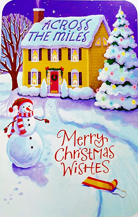 Christmas Wishes Card.Amazon Com Across The Miles Merry Christmas Wishes