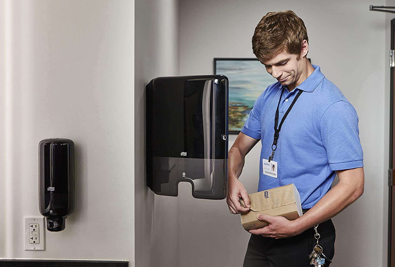 29,5x30,2x10,1 Tork 552108 Dispensador de toallas de mano entreplegadas despachador de papel secamanos de Tork compatible con el sistema H2 negro