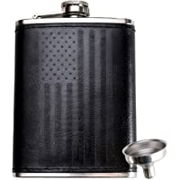 Leather Flask with American Flag by Home Aggressive - 8 Ounce - 18-8 304 Stainless Steel Black Leather Wrap Hip Flask…