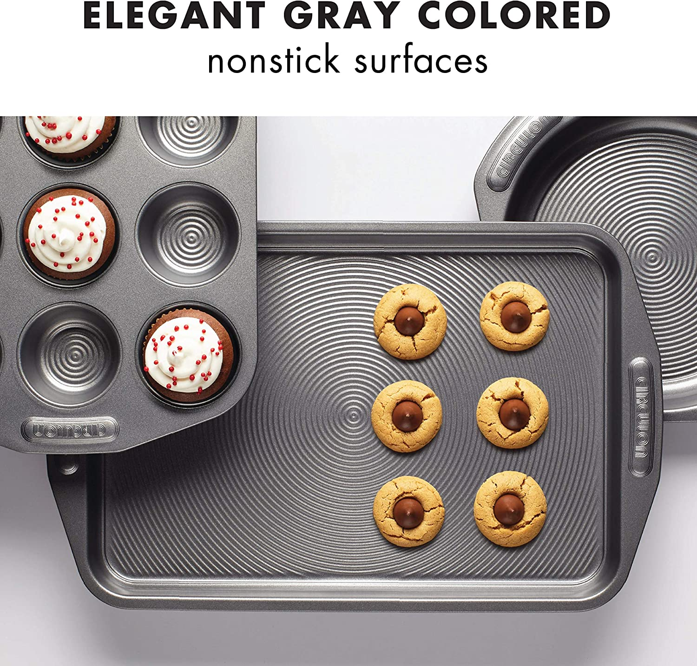 Gray 2 Piece Circulon 57893 Total Bakeware Set Nonstick Cookie Baking Sheets