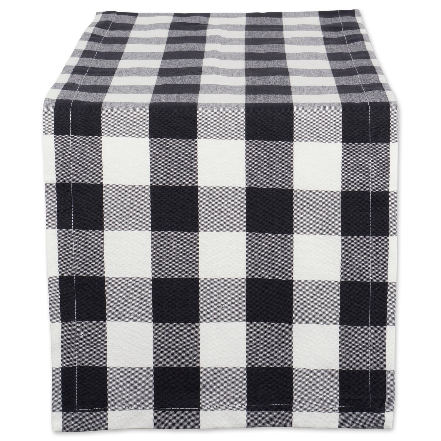 "DII Cotton Buffalo Check Table Runner for Family Dinners or Gatherings, Indoor or Outdoor Parties, & Everyday Use (14x108"",Seats 8-10 People), Black & White"