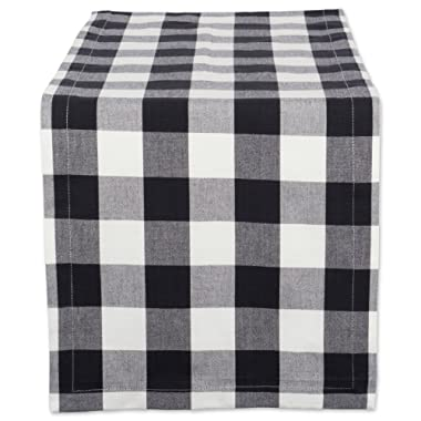 DII Cotton Buffalo Check Table Runner for Family Dinners or Gatherings, Indoor or Outdoor Parties, & Everyday Use (14x108 ,  Seats 8-10 People), Black & White