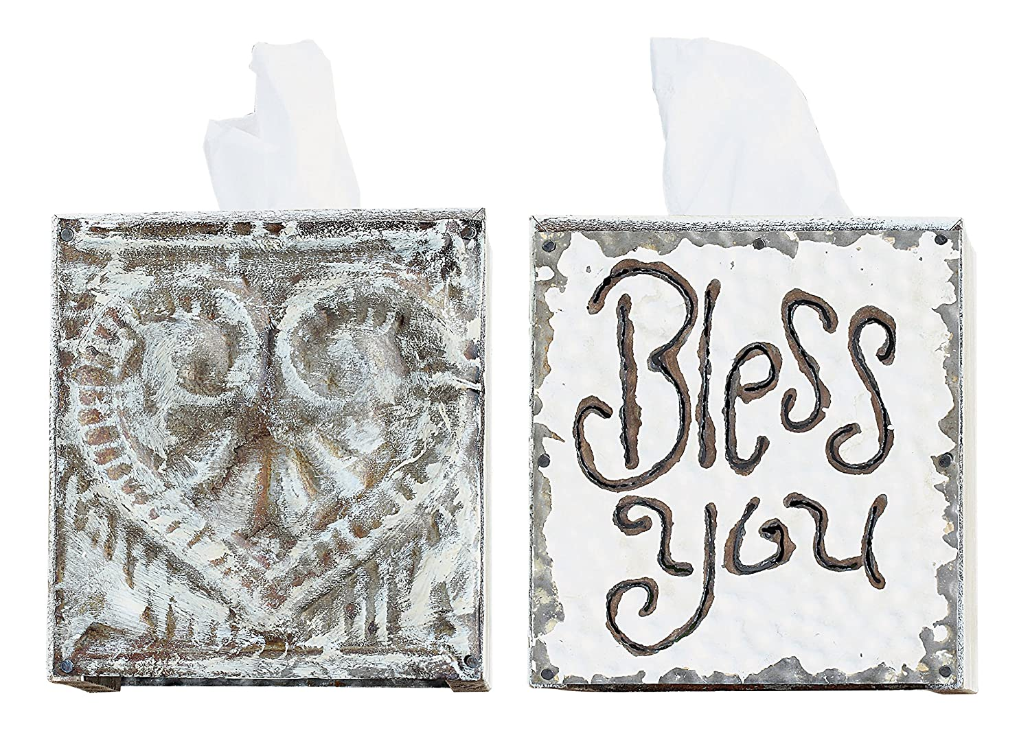 Creative Co-op White Wood and Tin Bless You Tissue Box Cover DA1184