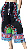 Raan Pah Muang Elastic Waist Casual African Dashiki Shorts 3/4 Leg Capri, Small, New Black Sky Blue