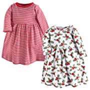 Hudson Baby Baby Girls' Cotton Dress, Holly 2 Pack, 0-3 Months (3M)
