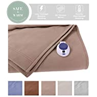 SoftHeat by Perfect Fit | Luxury Fleece Electric Heated Blanket with Safe & Warm Low-Voltage Technology (Twin, Beige)