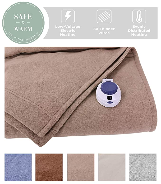 SoftHeat Luxury Fleece Electric Heated Blanket - Warm and Temperature-Regulating
