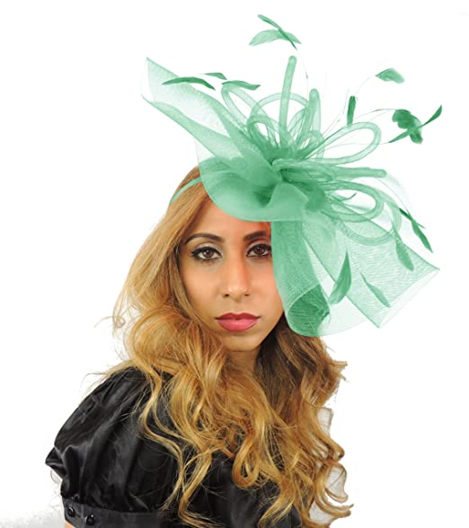 Grand Dame 12 Inch Sheer Ascot Kentucky Derby Fascinator Hat With Headband  - Army Green 4eb1cf76cf85