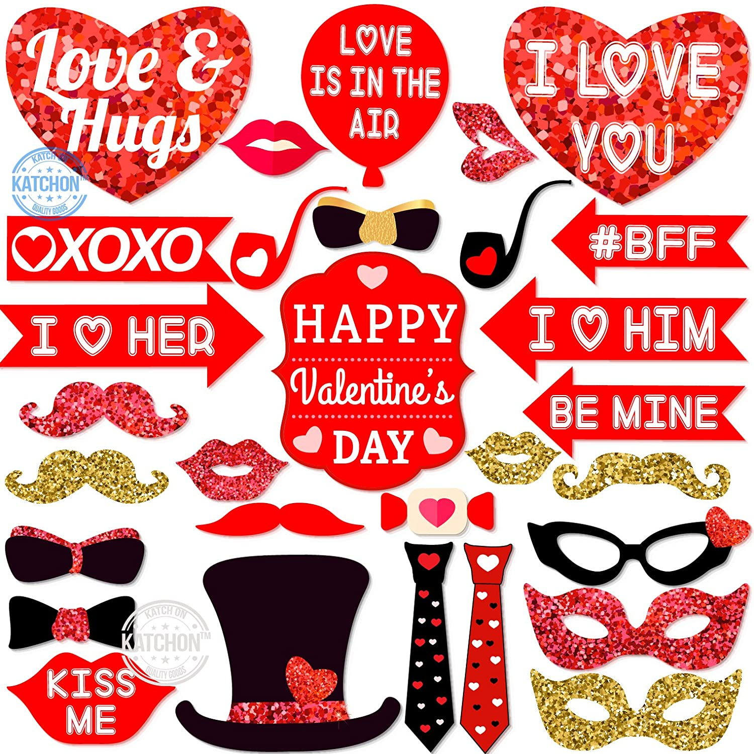REAL RED And GOLD GLITTER Valentine Days Photo Booth Props