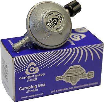Cavagna Unisex Camping GAZ Rosca regulador de butano para bombonas de Gas 29 mbar-8 mm Outlet, Color Plateado