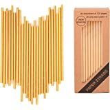 125 PCS Gold Paper Straws Biodegradable Metallic Drinking Decoration Disposable - Boxed 5 Individual Packs of 25 Units