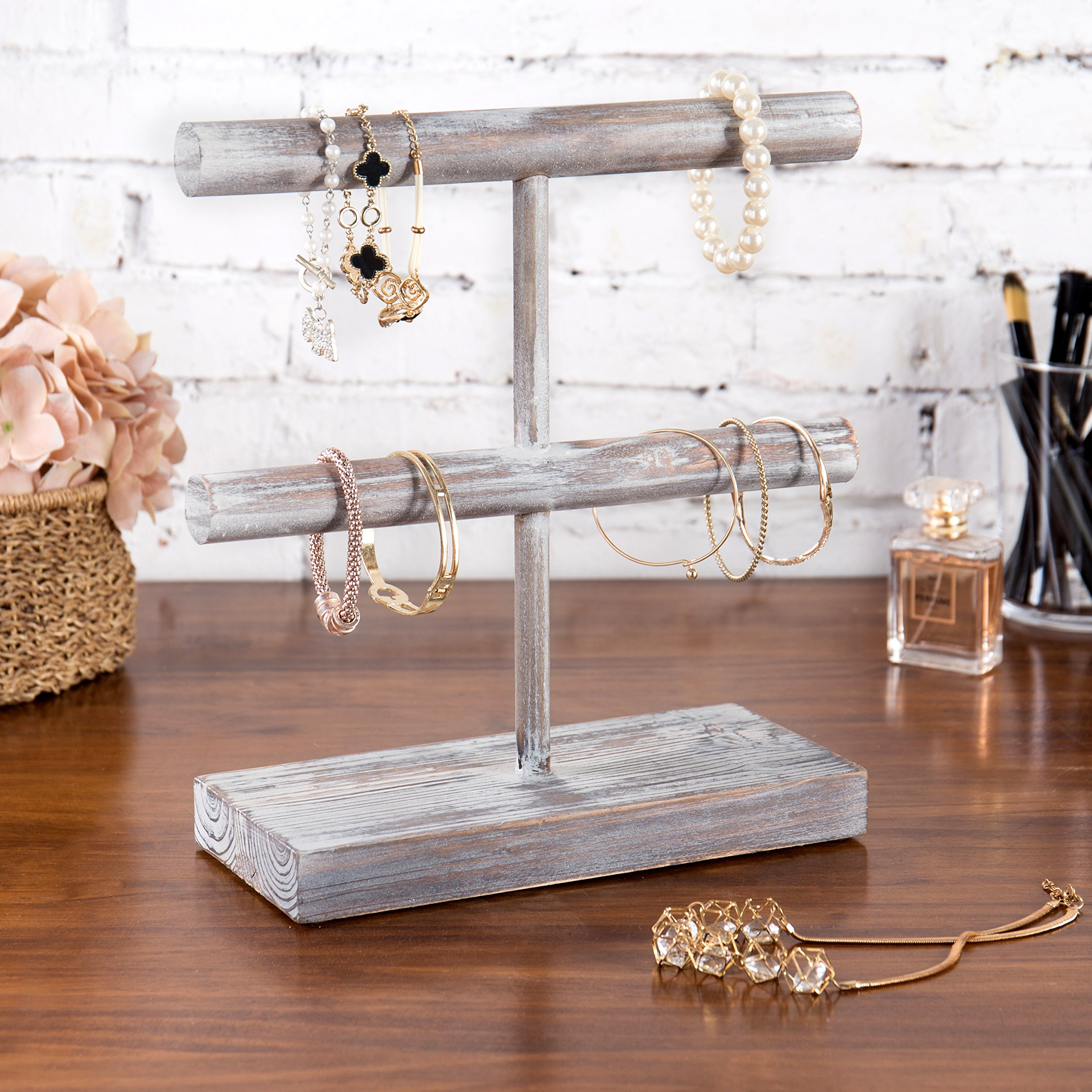 MyGift Rustic 2-Tier Torched Wood T-Bar Jewelry Display Rack, Bracelet & Watch Organizer by MyGift (Image #6)