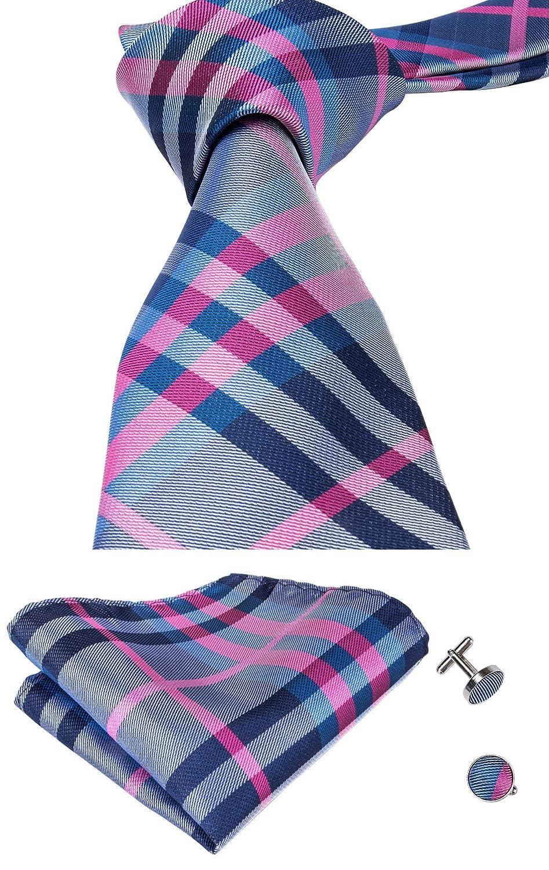 CAOFENVOO Men Tie Handkerchief Necktie with Cufflinks and Pocket Square Tie Set A-TOP