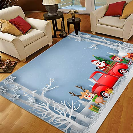 Christmas Area Rugs 5x7 Area Rugs For Living Room Bedroom Large Area Rugs Christmas Red Truck With Santa Claus Reindeer And Elf Kitchen Dining