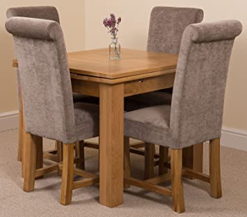 Fine Modern Furniture Direct Richmond Small Extending Solid Oak Dining Set Table 4 Grey Fabric Chairs Creativecarmelina Interior Chair Design Creativecarmelinacom