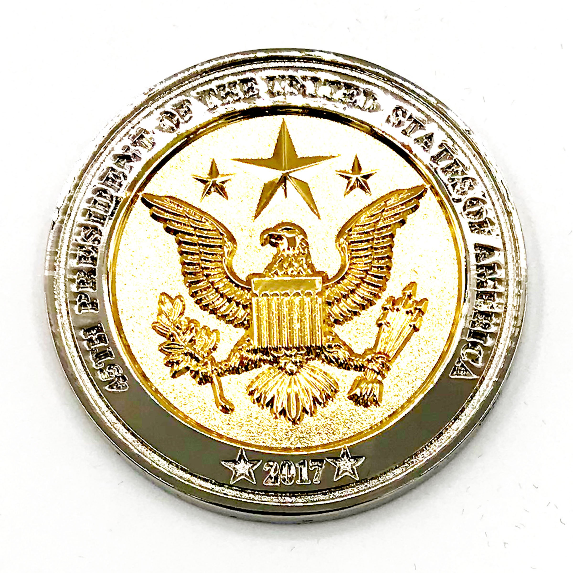 Trump Coin, 58th Presidential Inauguration of Donald J. Trump Challenge Coin by AIIZ Collectibles, 1.75'' Diameter in Shinny 24K Gold & 925 Silver Plating, packaged in Black Velvet Case by AIIZ Collectibles (Image #5)