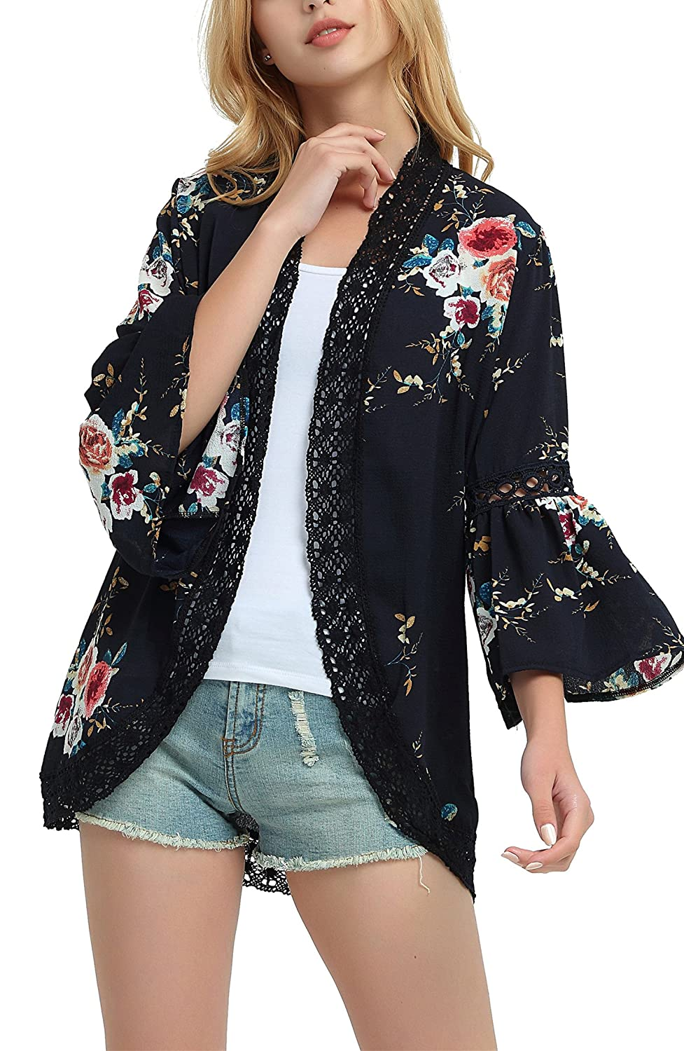 Steven McQueen Women's S-3XL Boho Bell Sleeve Cardigans Floral Lace Cover up Tops