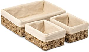 HOMESCAPE CREATIONS Woven Wicker Seagrass Tray Basket | Handmade Bathroom Kitchen Shelf Organizer | Natural Decorative Nesting Storage with Cotton Liners | Set of 3