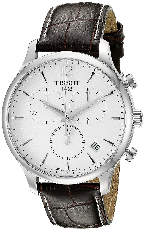 l'atteggiamento migliore c1d65 47105 Tissot T0636171603700 Tradition Men's Chrono Quartz Silver Dial Watch with  Brown Leather Strap
