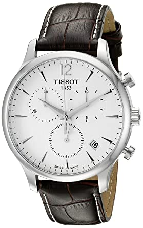 9fde4fbc426 Image Unavailable. Image not available for. Color  Tissot T0636171603700  Tradition Men s Chrono Quartz Silver Dial Watch with Brown Leather Strap