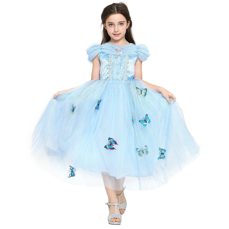 Katara - Cenicienta Disfraz de Princesa Vestido con broches de Mariposas y Falda de Tul para niñas, 8-9 años