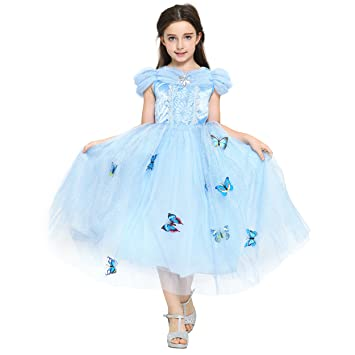 ca9161595c Katara - Princess Cinderella Fancy Dress with Multi Layered Tulle Skirt and  Butterflies - Fairy Tale
