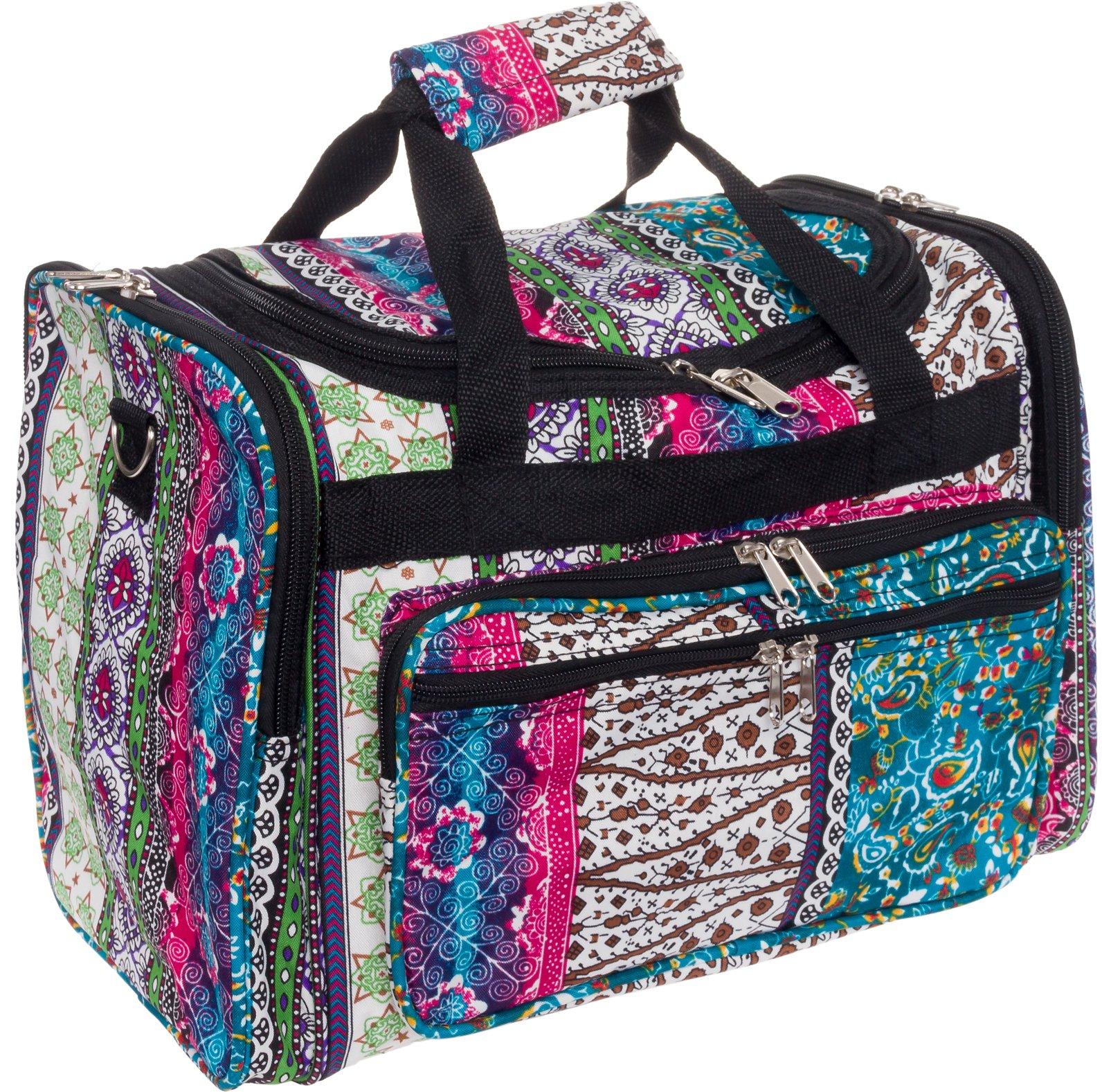 Womens 16'' Duffel Carry-On Travel Bag (Bohemian w/Black Trim)